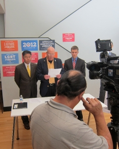 From left to right is State of CA Senator Ted Lieu (left), Veterans Advocate Terry Richards (center), and Richard Weir, Veterans Field Rep of The Truman National Security Project (right)  Endorsing President Obama for re-election at News Conference at Obama Campaign Office in Santa Monica, CA, Sep 13, 2012.